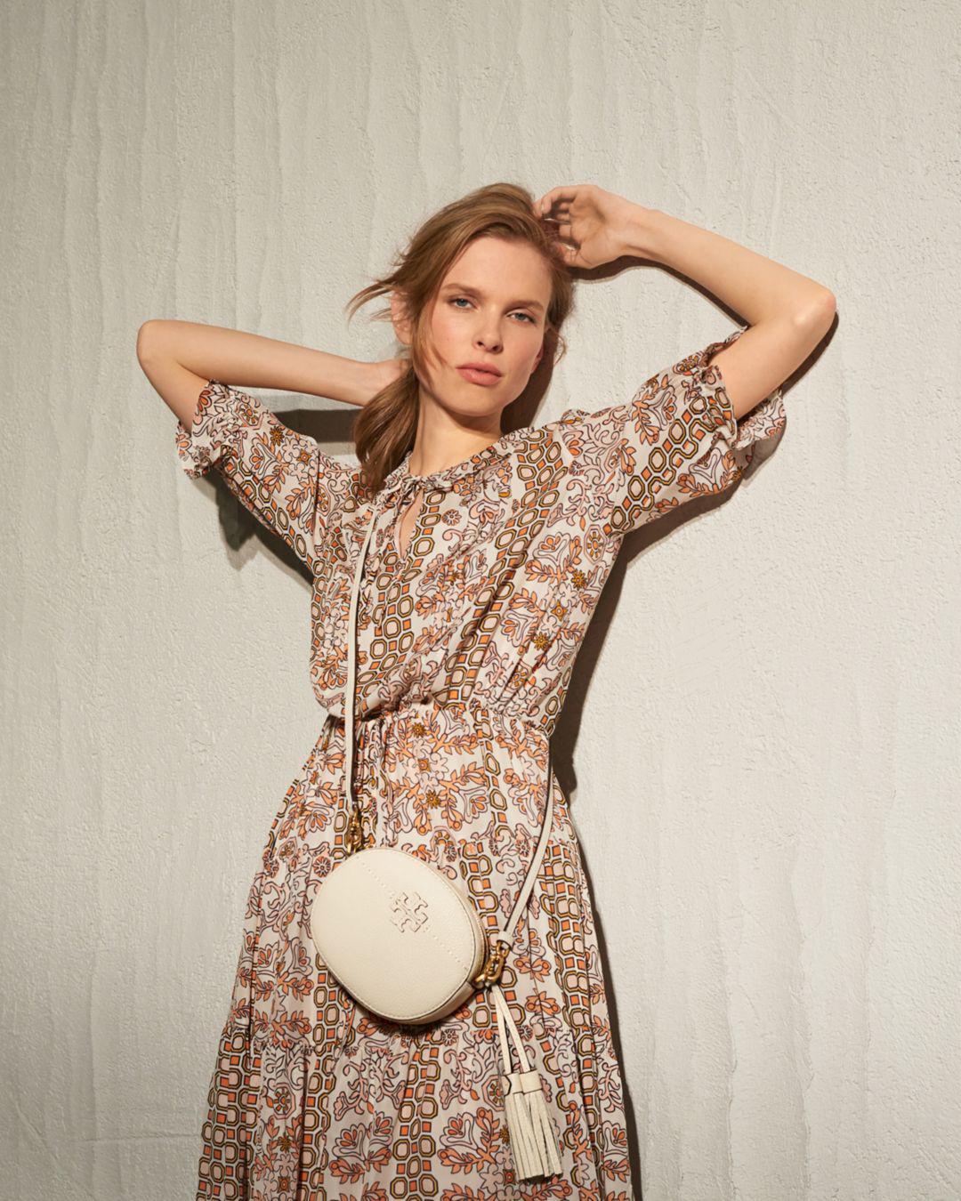 023ae52a49fc81 Lyst - Tory Burch Serena Printed Silk Dress
