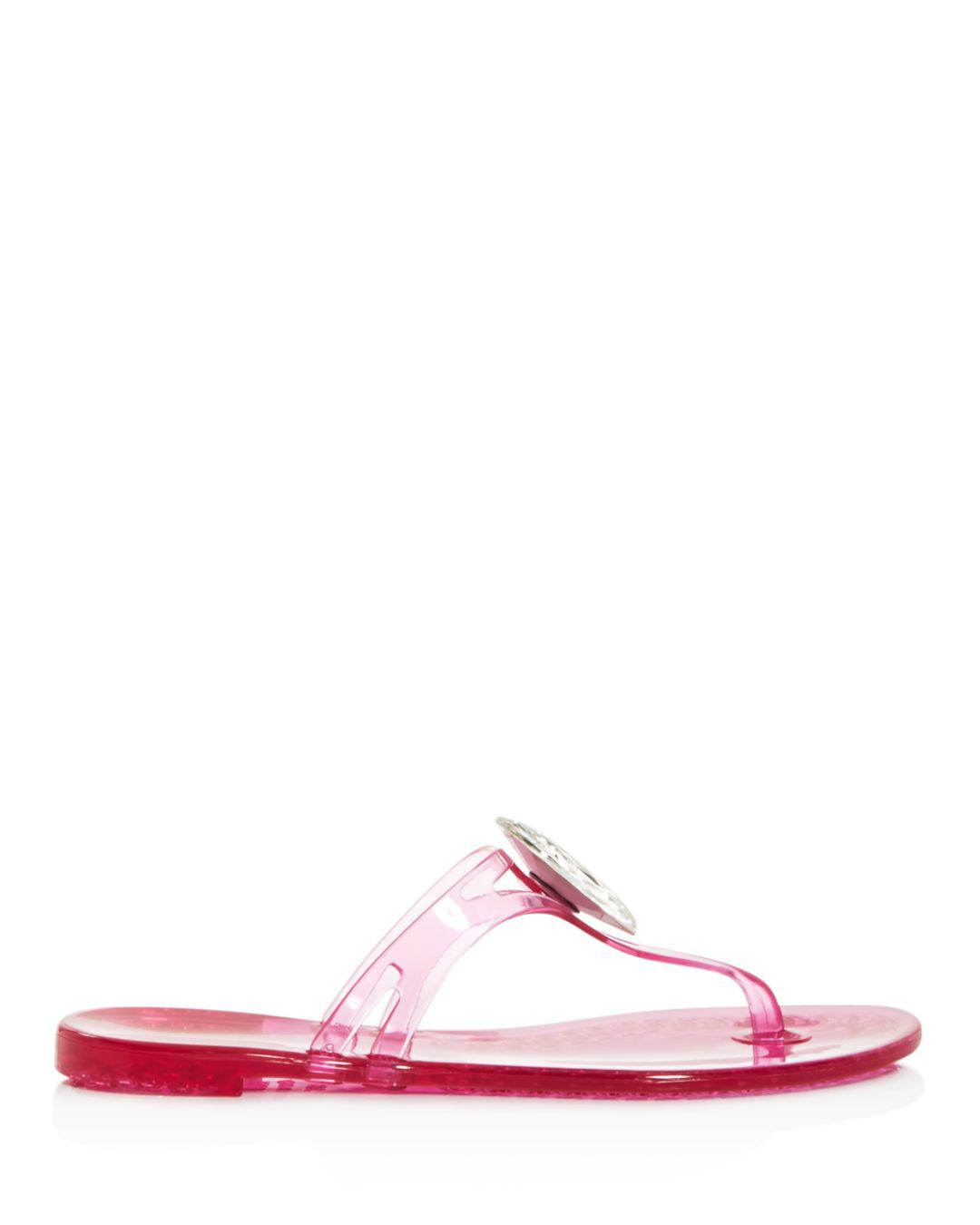 4e6710bc1 Casadei Women s Embellished Jelly Thong Sandals in Pink - Lyst