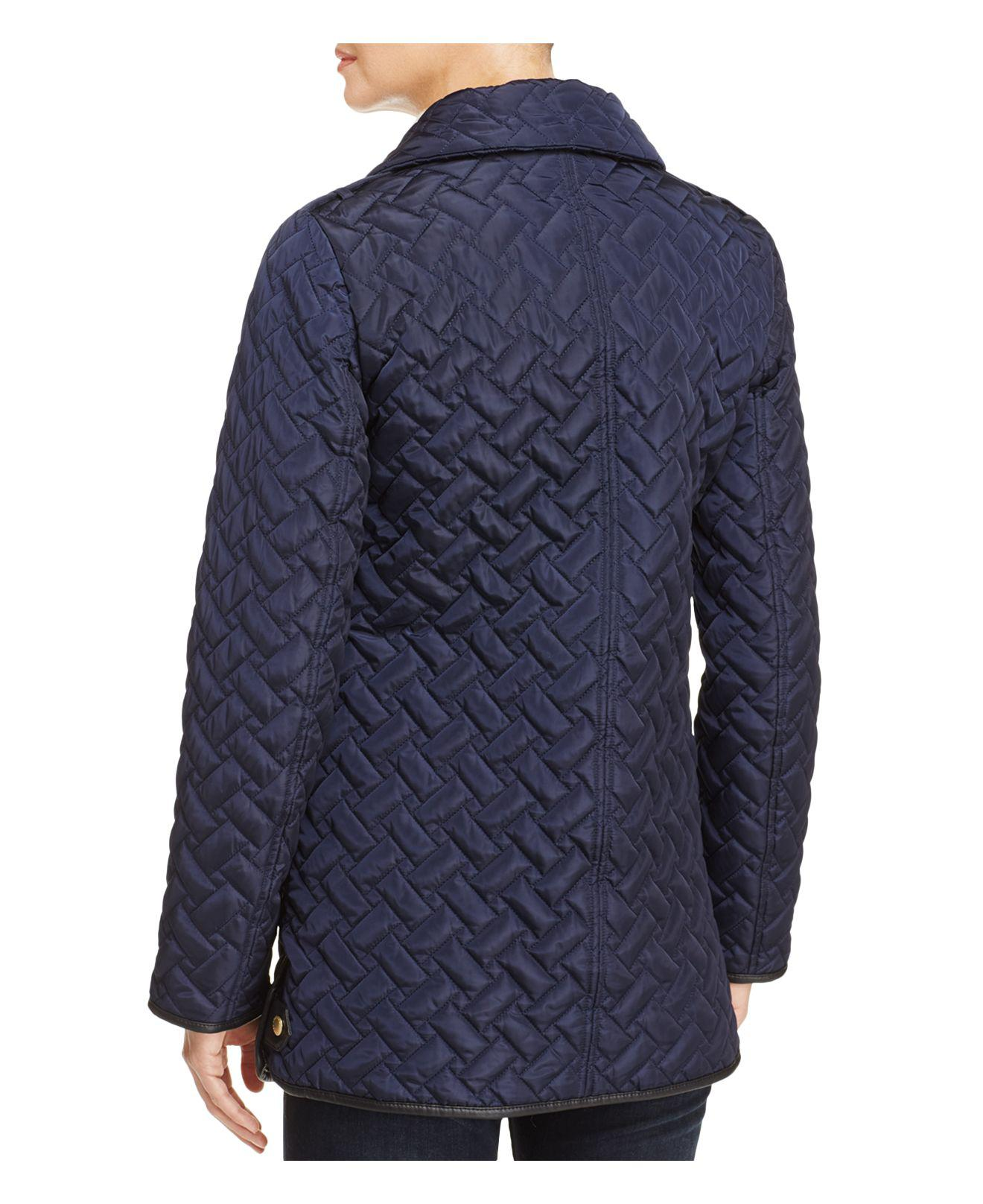 Lyst Cole Haan Zip Front Quilted Jacket In Blue
