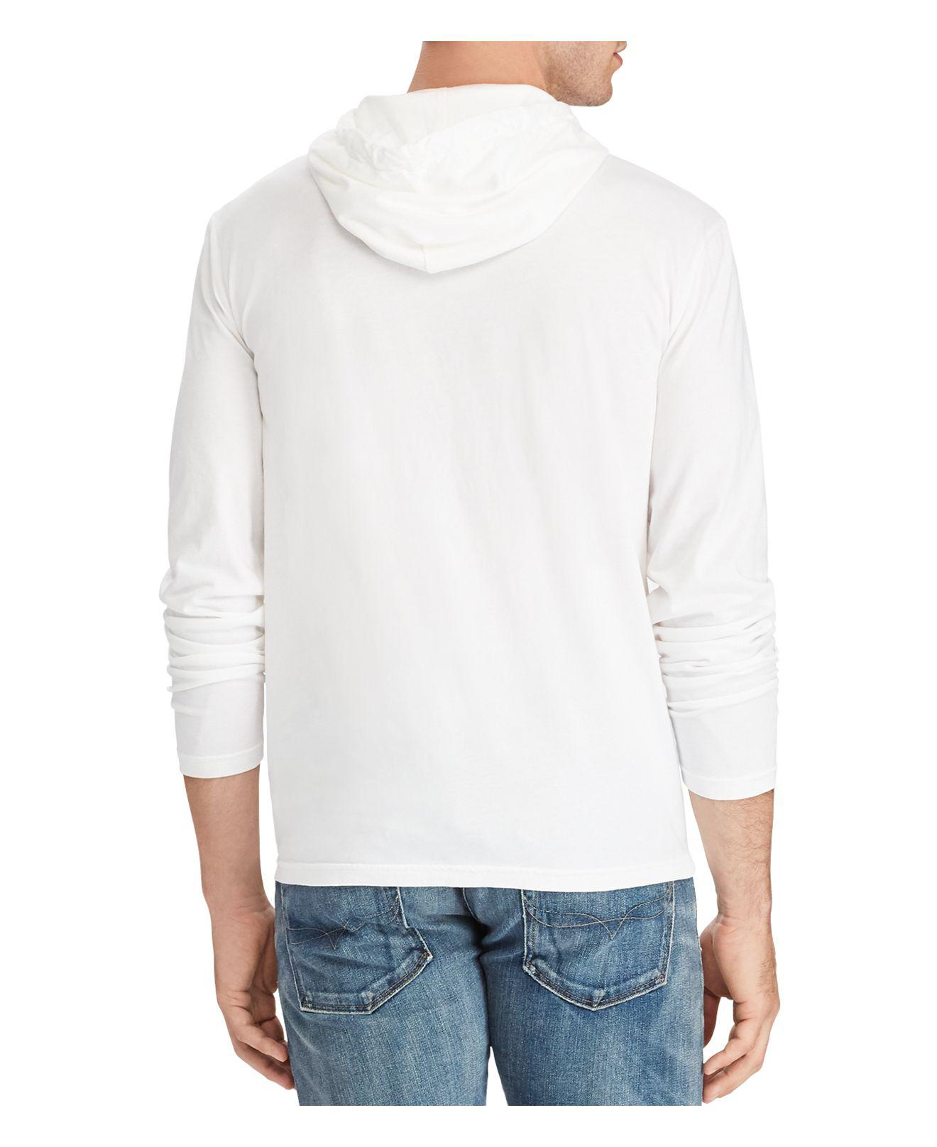 Polo Ralph Lauren Men/'s White//Off White//Weathered White Ivory Hooded T-Shirt