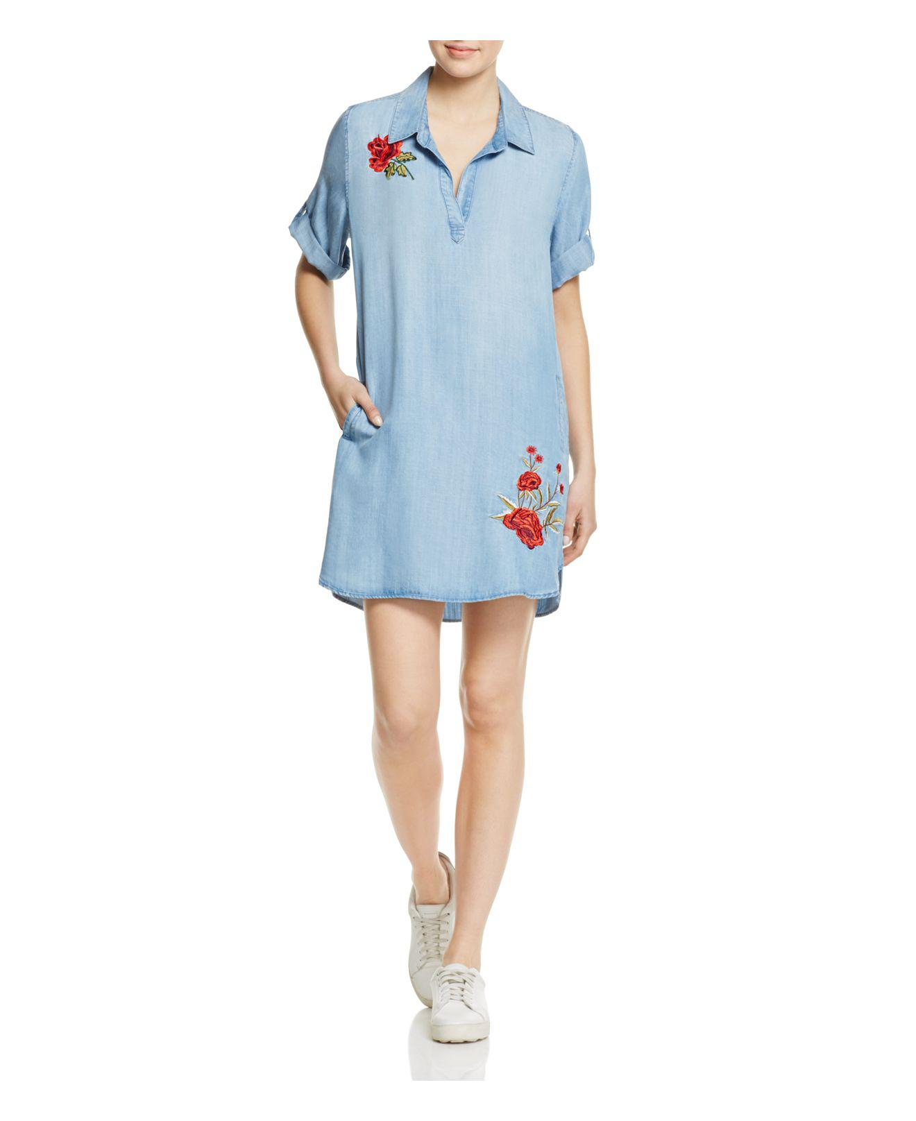 Aqua Embroidered Chambray Shirt Dress In Blue Lyst