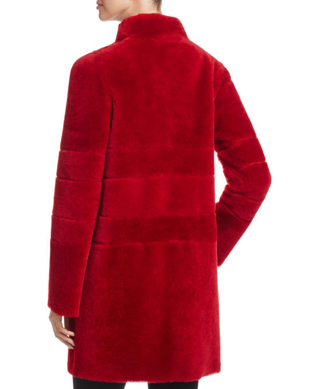 Maximilian Lamb Shearling Coat In Dark Red (Red)