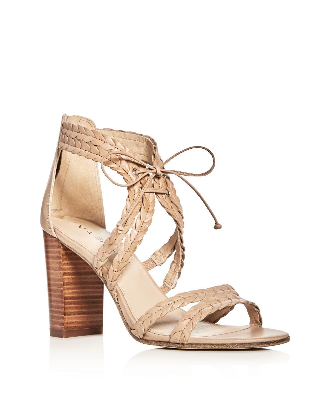 9df5ef85ca91 Via Spiga Gardenia Lace Up High Heel Sandals - Lyst