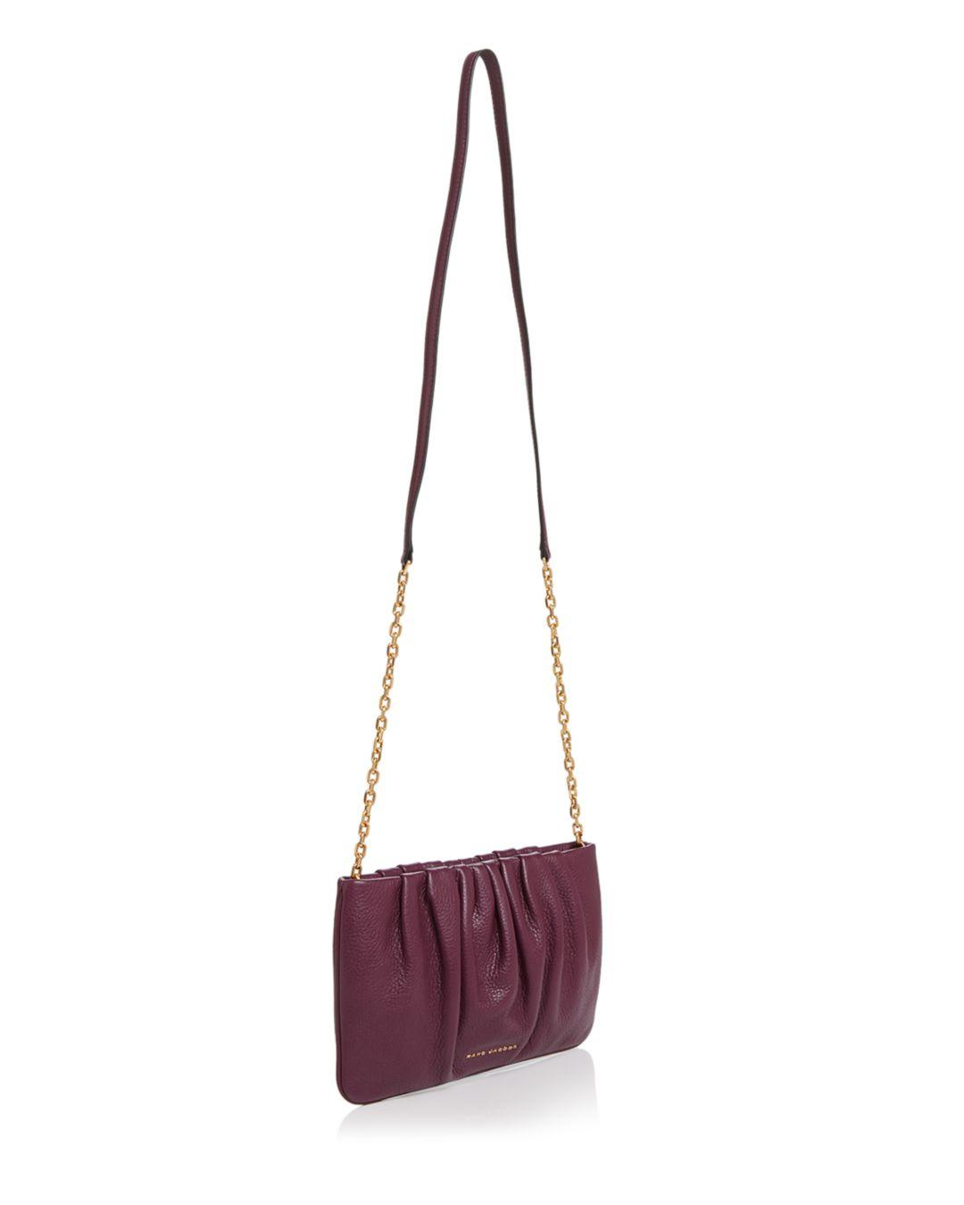 Marc Jacobs Leather Gathered Pouch With Chain Crossbody