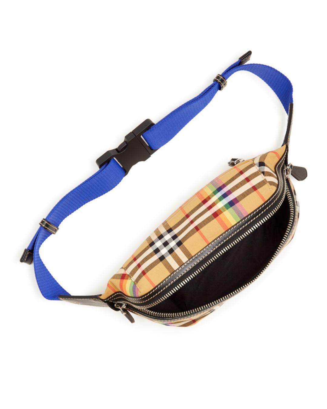 68efdff34831 Lyst - Burberry Sonny Medium Vintage Check Belt Bag in Blue for Men