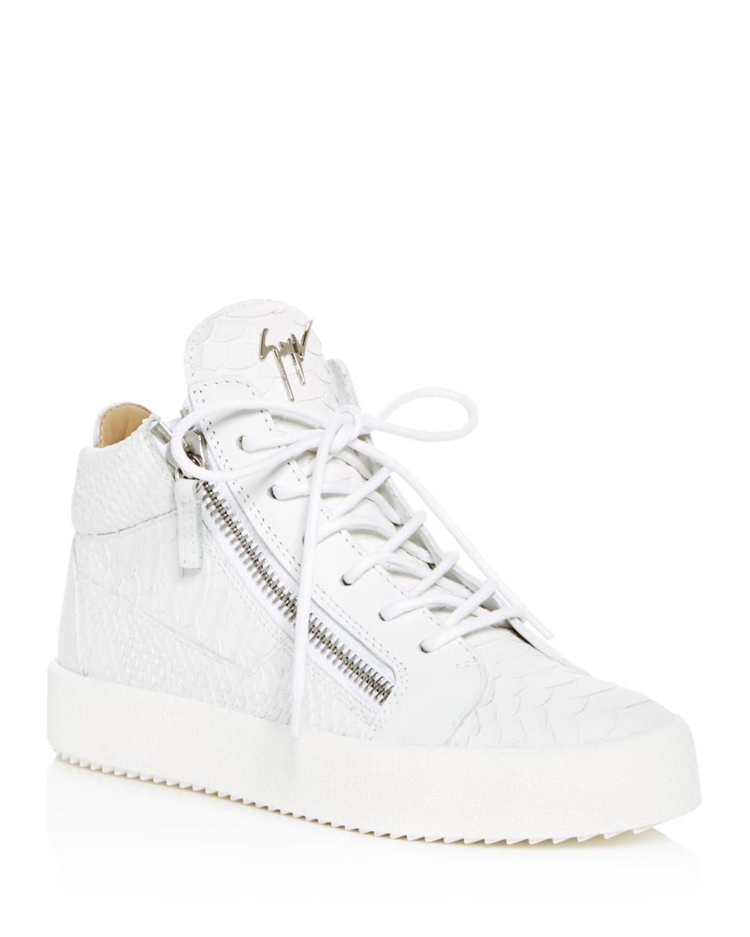 7633ed7f948af Giuseppe Zanotti. White Women s May London Snake   Croc Embossed Leather  High Top Sneakers