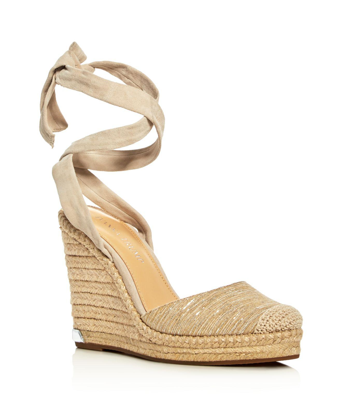 e9c0b05f62b Ivanka Trump Natural Winikka Ankle Tie Espadrille Wedge Sandals