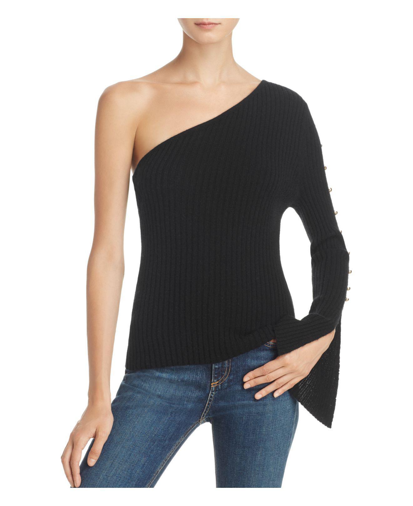 lyst aqua cashmere ribbed one shoulder sweater in black. Black Bedroom Furniture Sets. Home Design Ideas