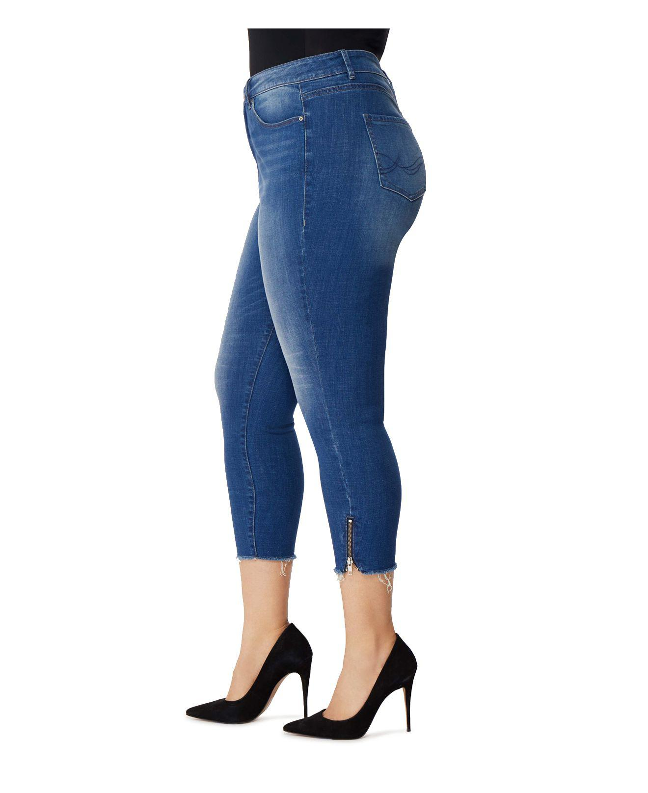 REBEL WILSON X ANGELS Denim Icon Zip-cuff Cropped Jeans In Laurel in Blue
