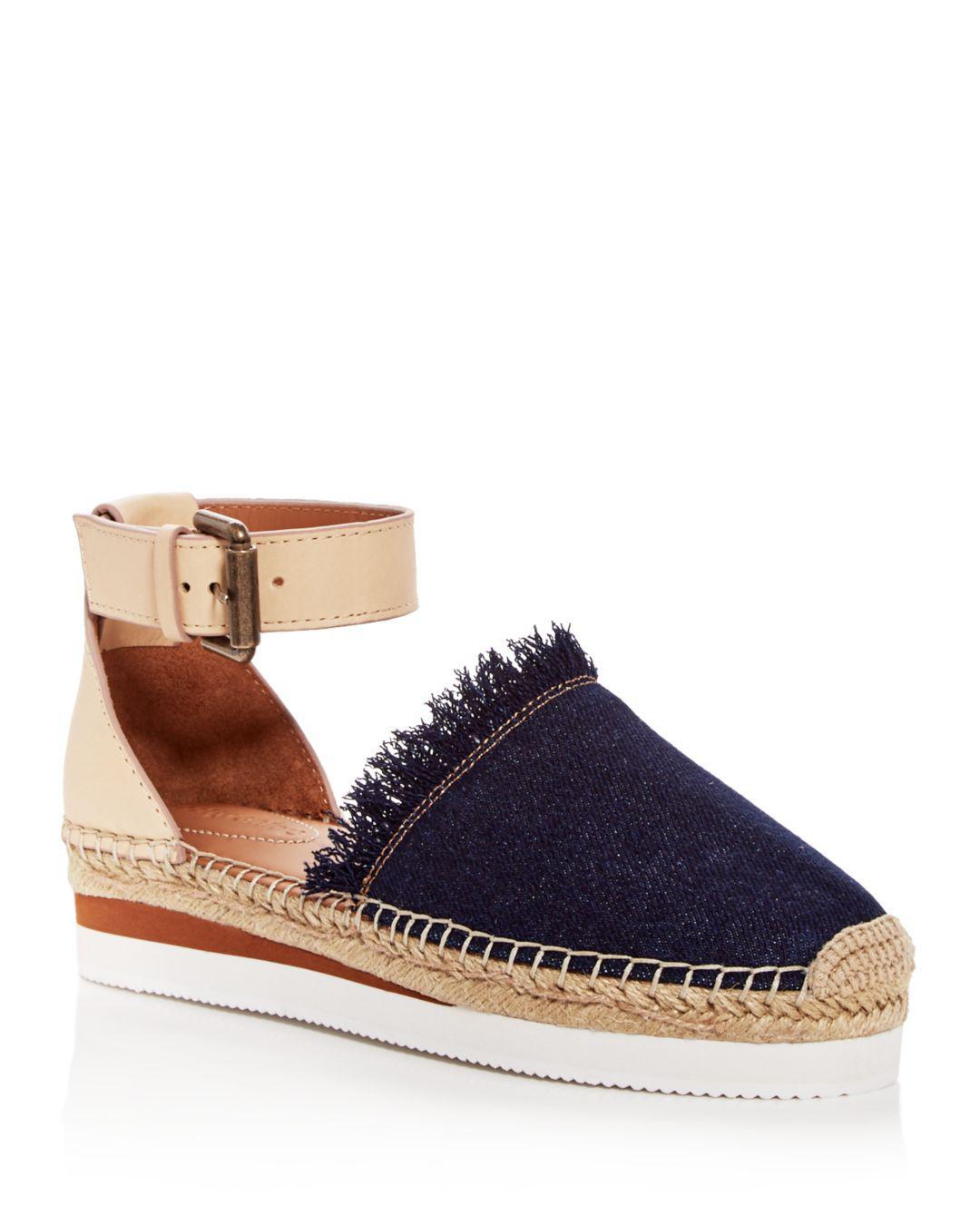856ffbafa See By Chloé Women's Leather & Denim Fringe Platform Sandals in Blue ...