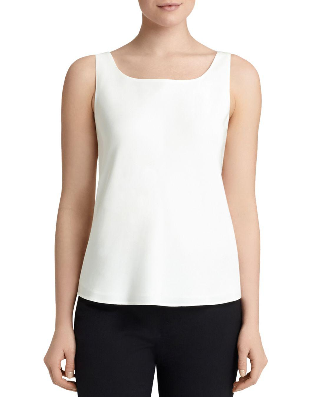 cc77226d1af0d5 Lyst - Lafayette 148 New York Silk Tank in White - Save 16%