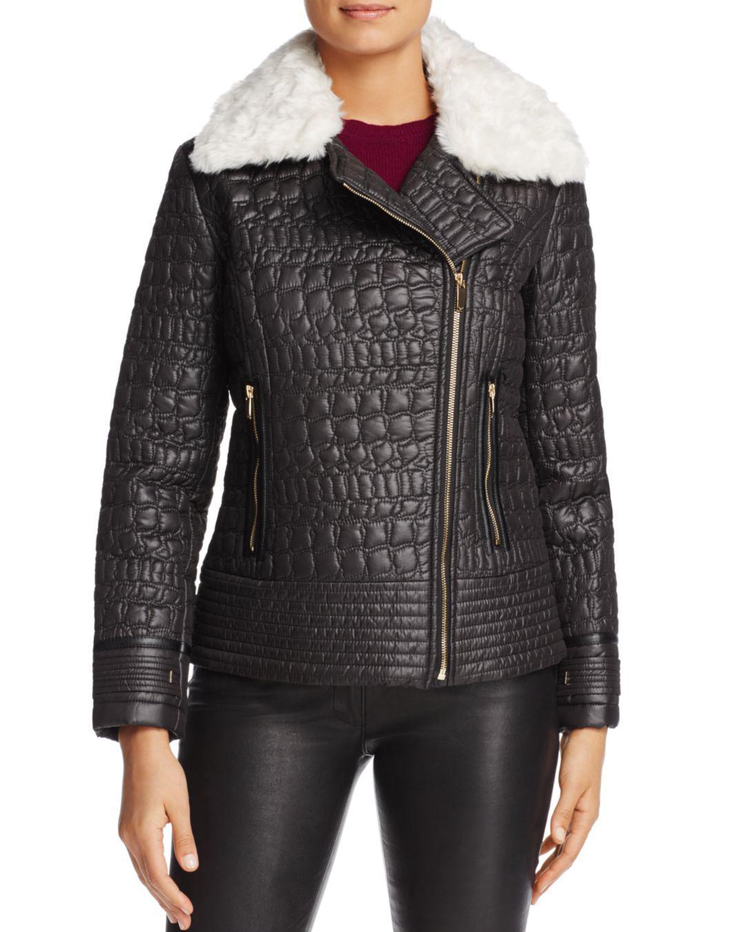 Via Spiga Faux Fur Trim Quilted Moto Jacket In Black Lyst