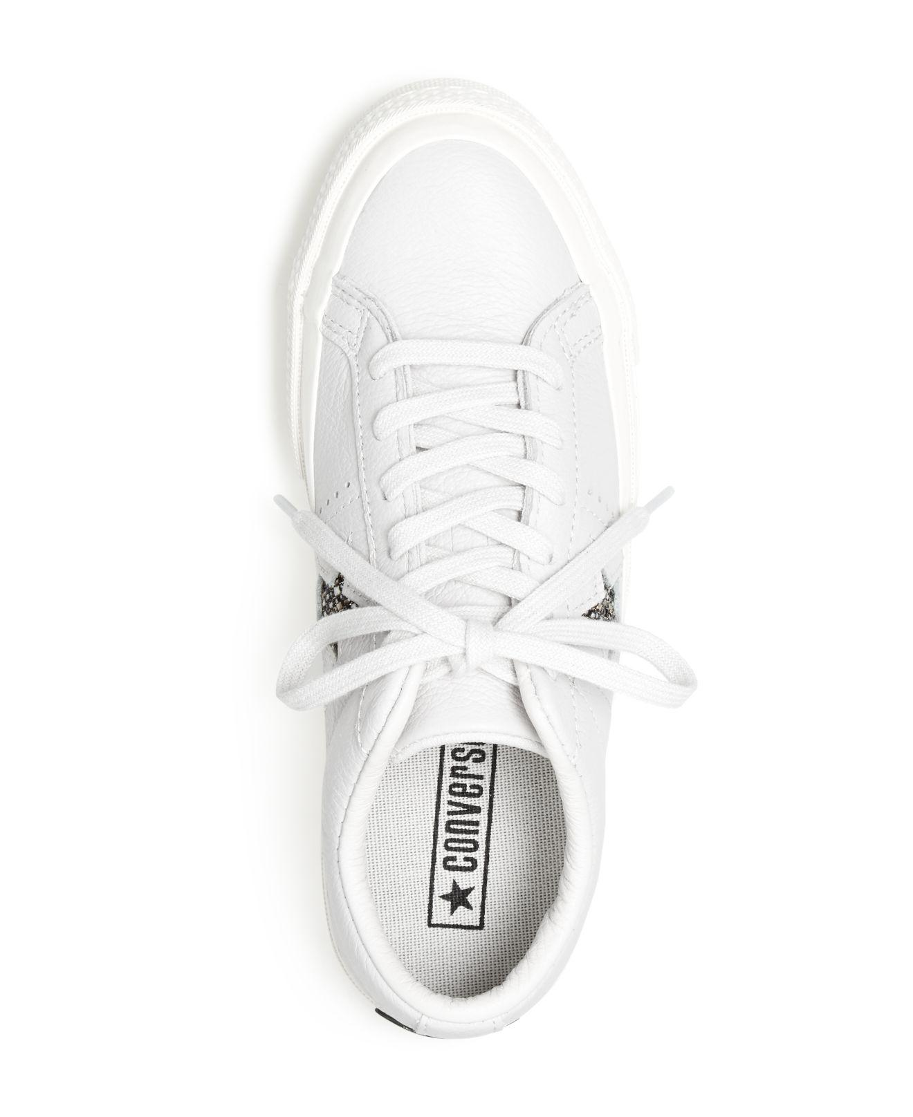 Converse Women's One Star Leather Lace Up Sneakers in White