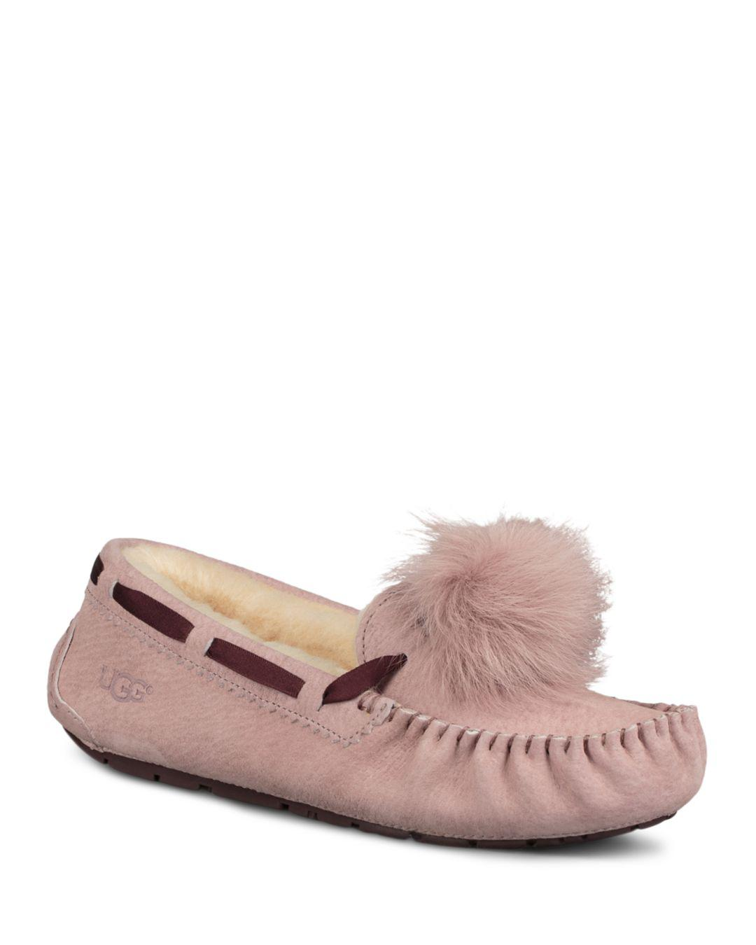 7f0108310c0 Lyst - UGG Dakota Fur Pom-pom Suede Loafers in Pink - Save 43%