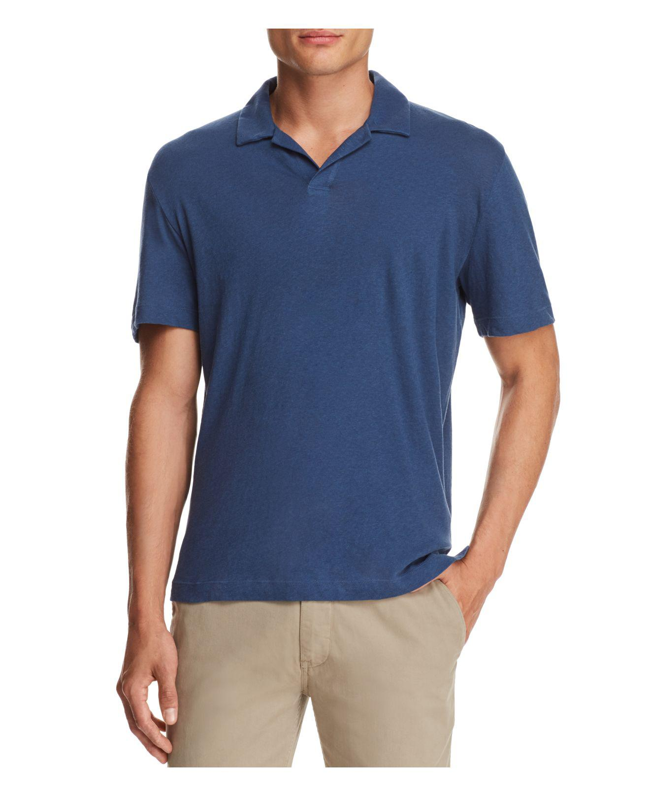 Theory Open Collar Short Sleeve Polo Shirt In Blue For Men