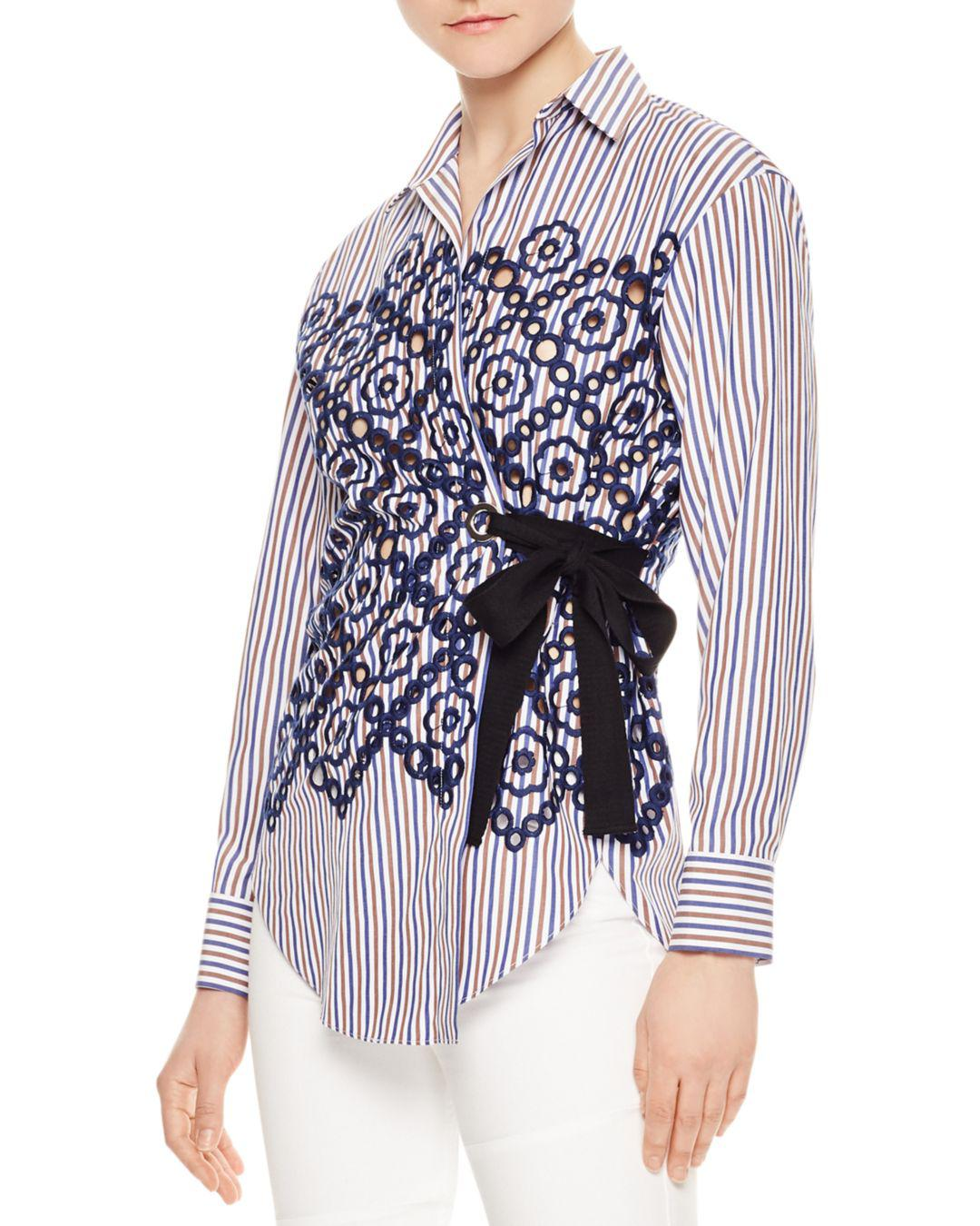 d75ca534f941a2 Lyst - Sandro Rahel Striped Eyelet-lace Wrap Shirt in Blue