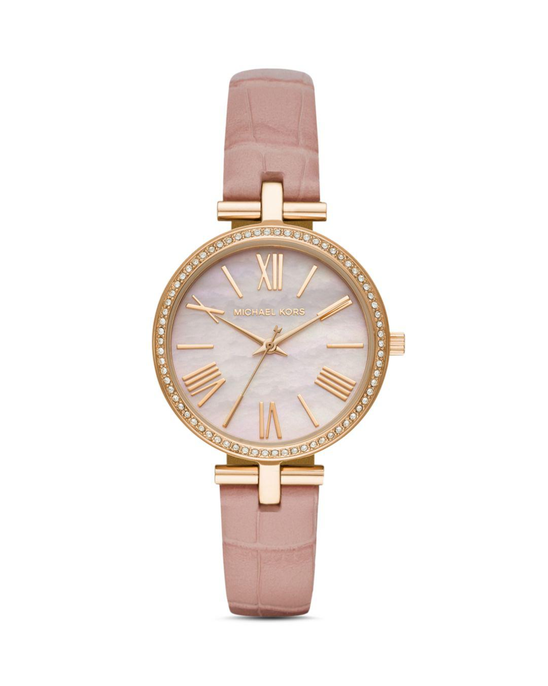cd0438425790 Lyst - Michael Kors Maci Three-hand Leather-strap Watch - Pink in ...