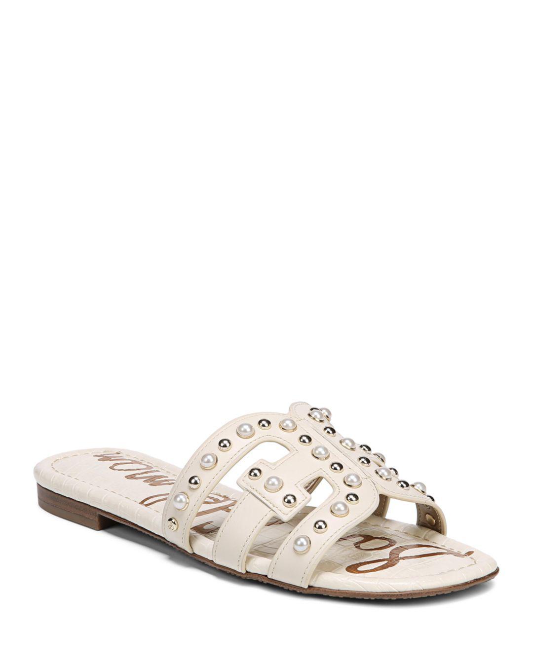 d57289069 Sam Edelman Women s Bay 2 Leather Embellished Slide Sandals in White ...