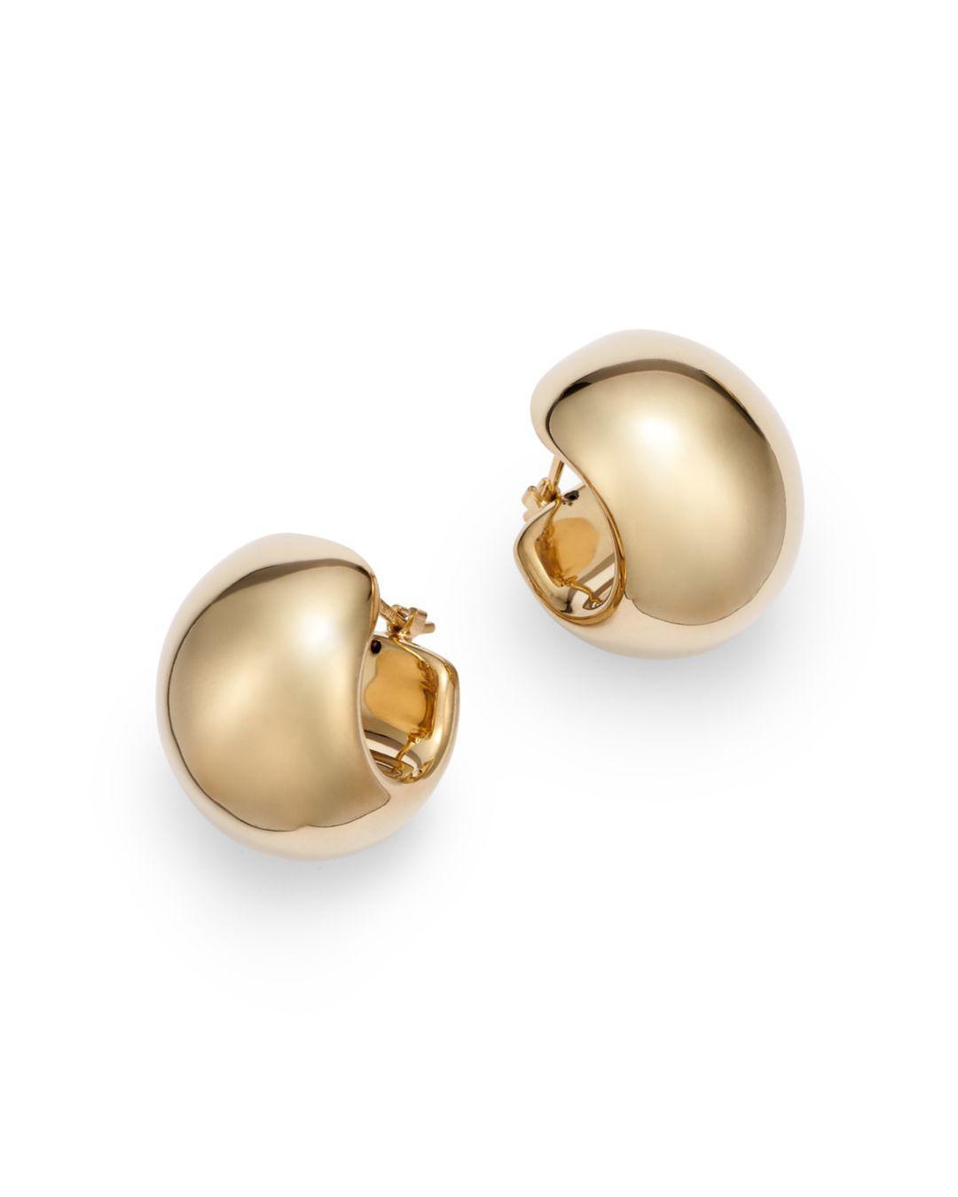 Wide Huggie Hoop Earrings In 14k Yellow Gold