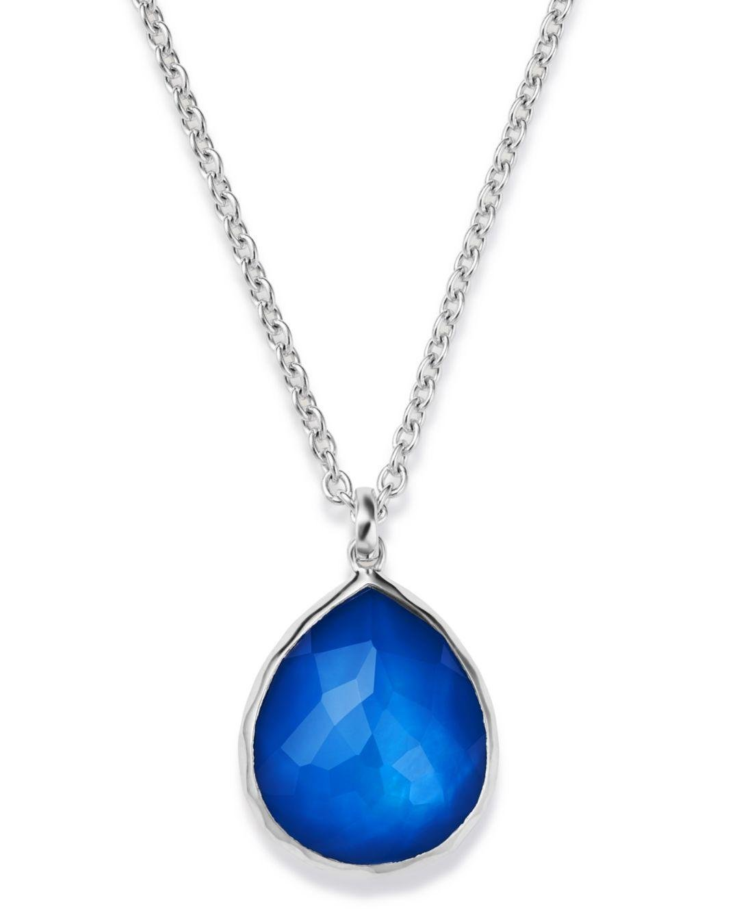 Ippolita Sterling Silver Wonderland Mother - Of - Pearl Doublet Mini Pendant Necklace in Blue/Silver (Blue)