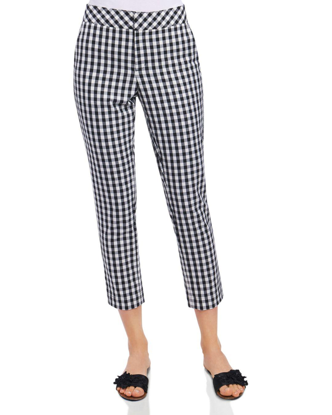 e313f3d833e7 Lyst - Foxcroft Gingham Ankle Pants in Black