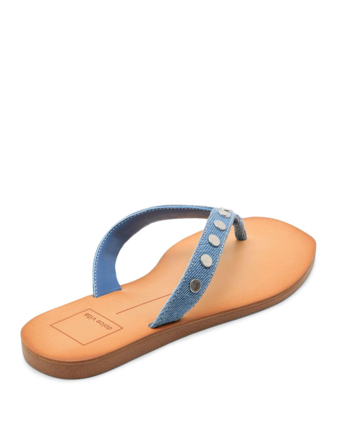 41fa2d4b9dc Lyst - Dolce Vita Women s Clyde Studded Denim Thong Sandals in Blue