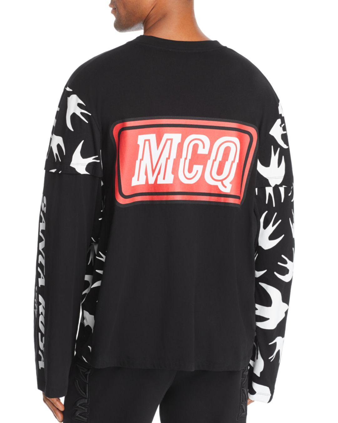 8286c588 Lyst - Mcq Alexander Mcqueen Long-sleeve Swallows & Logo-print Patchwork Tee  in Black for Men