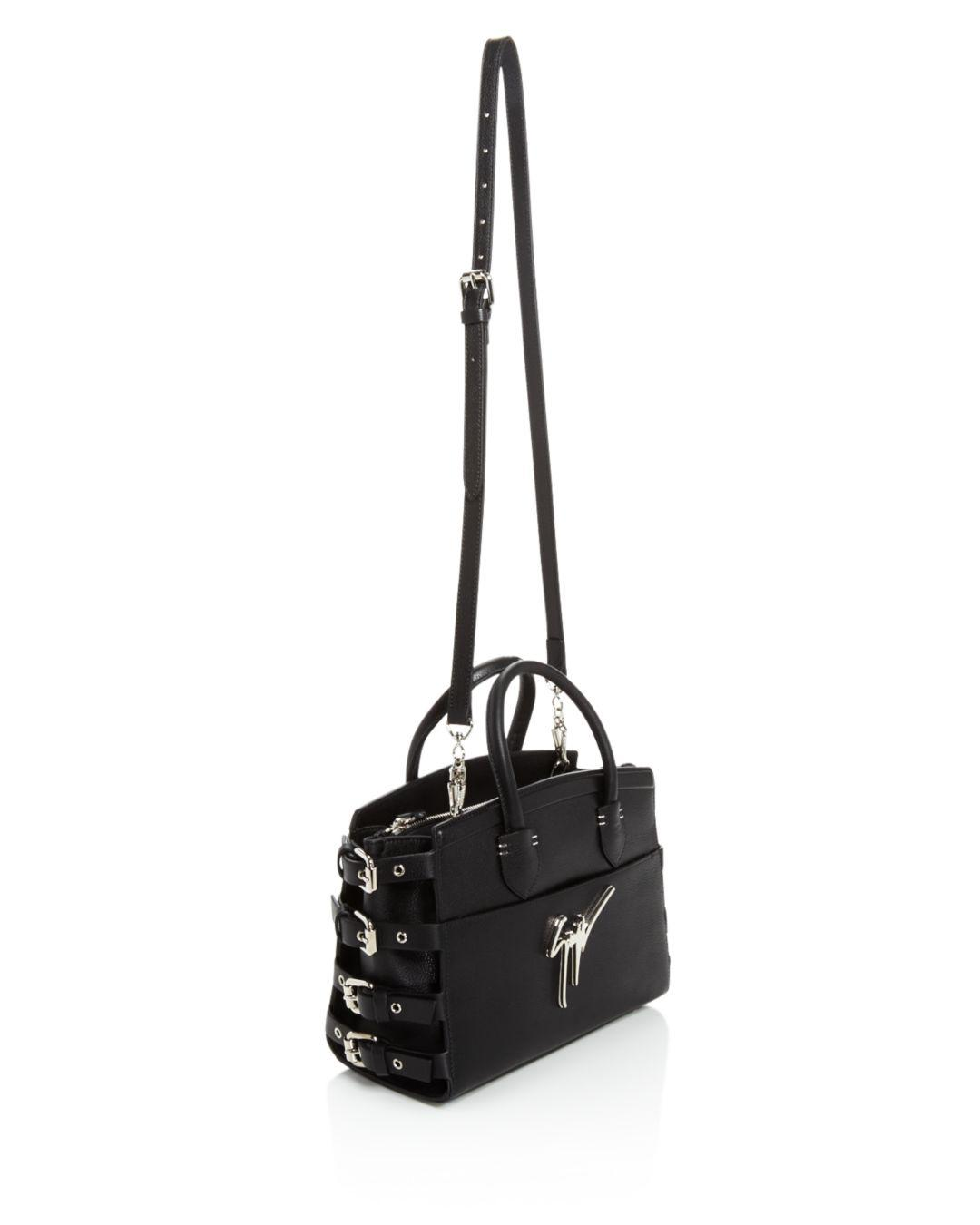 Giuseppe Zanotti Leather Small Logo Tote in Black/Silver (Black)