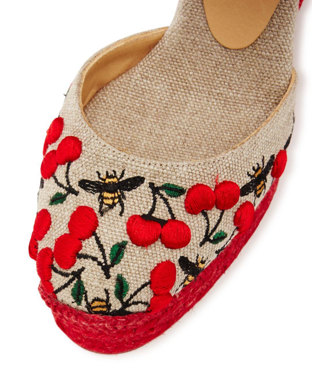 52ba598af5c Castaner - Natural Women s Carina Merlion Park Embroidered Ankle Tie Wedge  Espadrilles - Lyst. View fullscreen