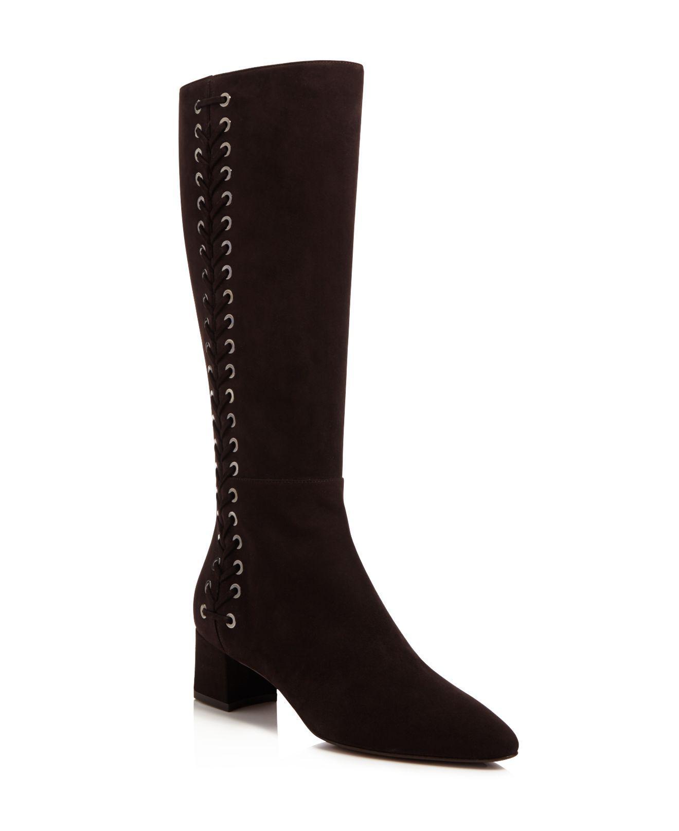 Aquatalia Womens Black Perri Weatherproof Laced Tall Boots