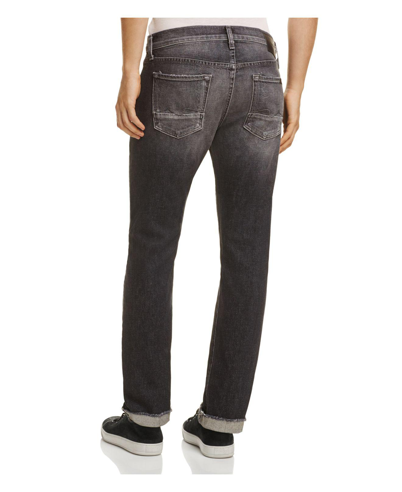 7 For All Mankind Denim Cuffed Paxton Skinny Fit Jeans In Blowout for Men