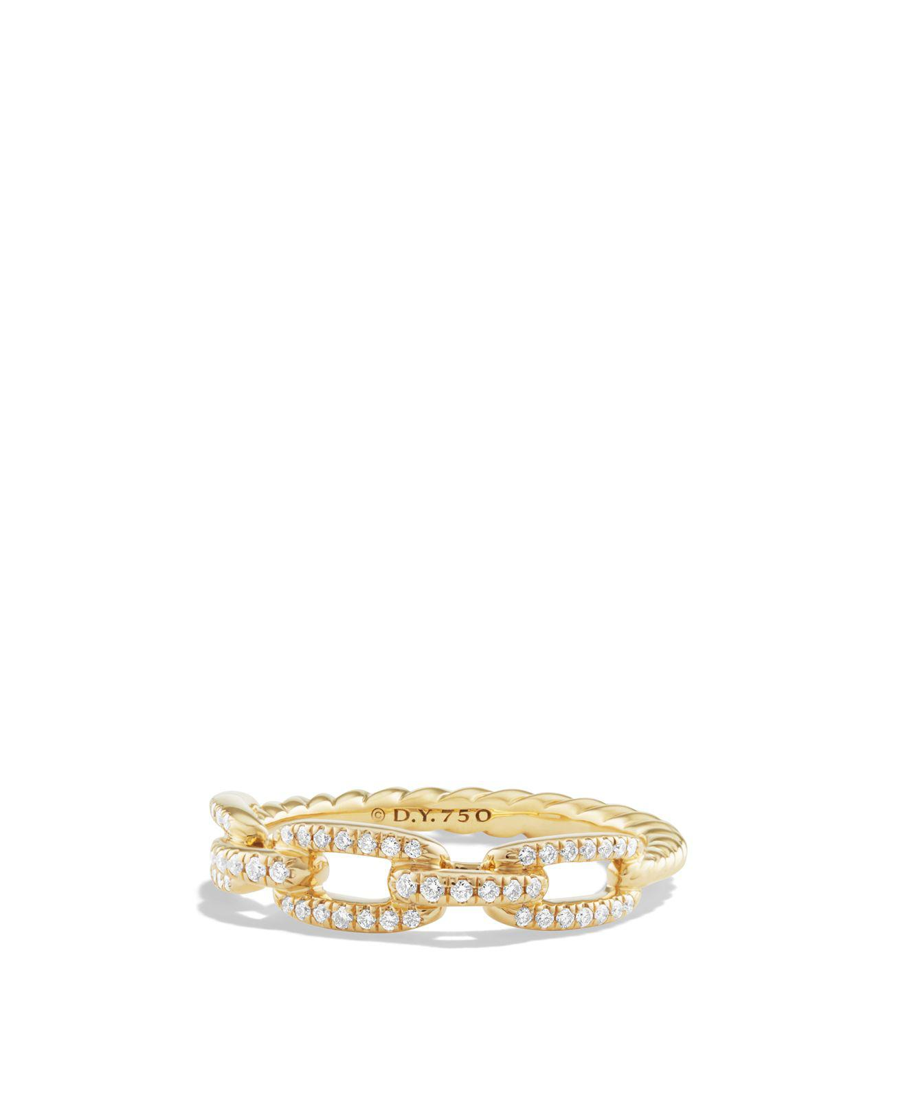 David Yurman 18kt yellow gold Stax single row pavé diamond chain link ring - Metallic xWrRwMxN