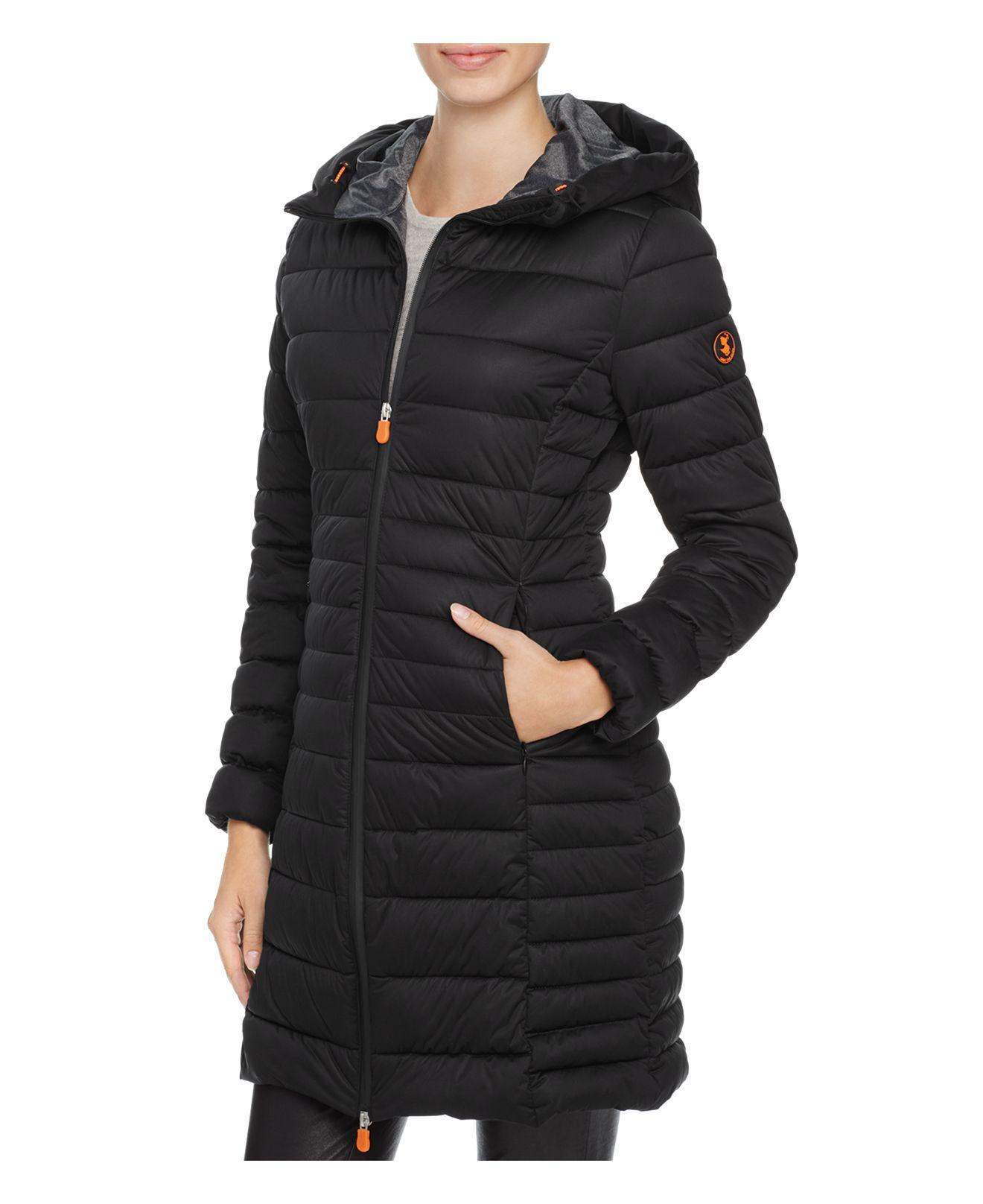 Save The Duck Packable Quilted Long Puffer Coat in Black ...