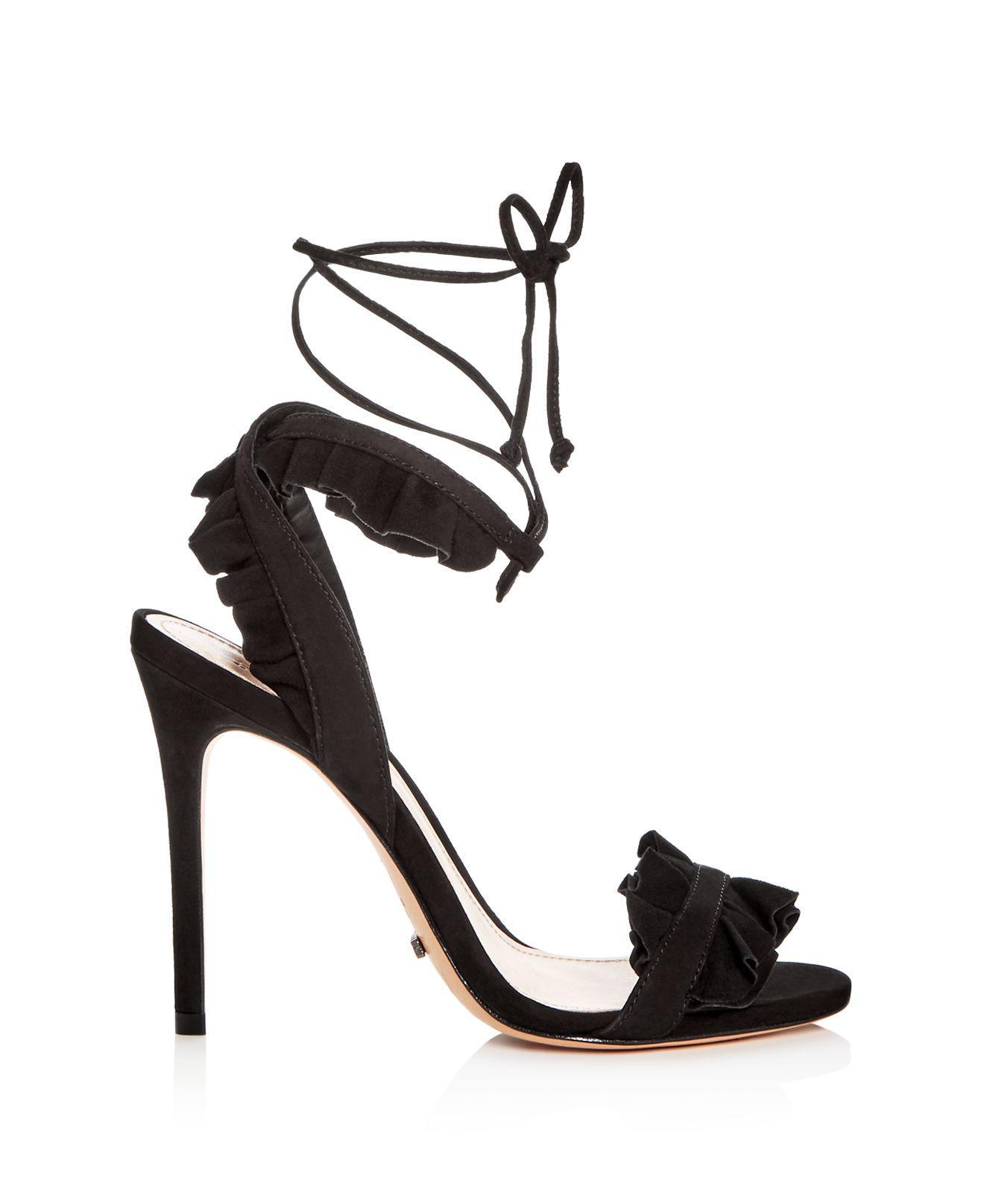 a7c66b47ac5 Schutz Black Women's Irem Suede Ankle Tie High-heel Sandals