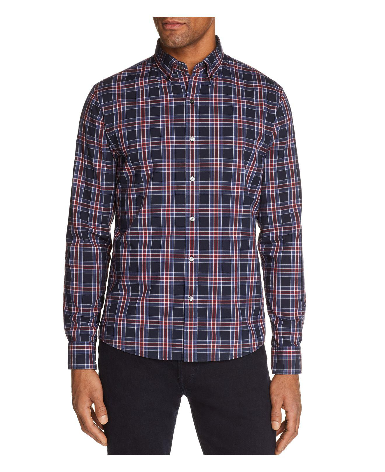 Lyst michael kors acton check slim fit long sleeve for Athletic fit button down shirts