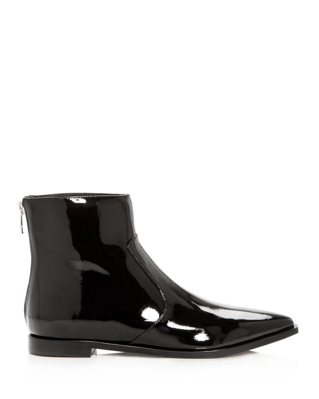 Sigerson Morrison Leather Women's Eranthe Pointed Toe Booties in Black Patent Leather (Black)