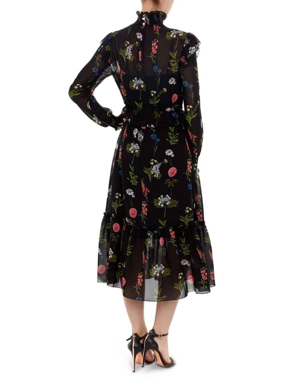 62851ce52c68f1 Lyst - Ted Baker Simarra Florence Midi Dress in Black