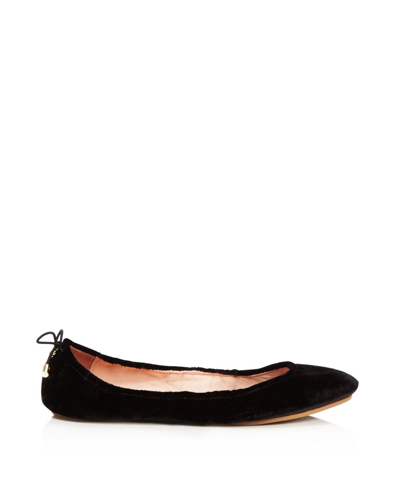 d3a2879d8475 Lyst - Kate Spade Women s Globe Velvet Travel Ballet Flats in Black