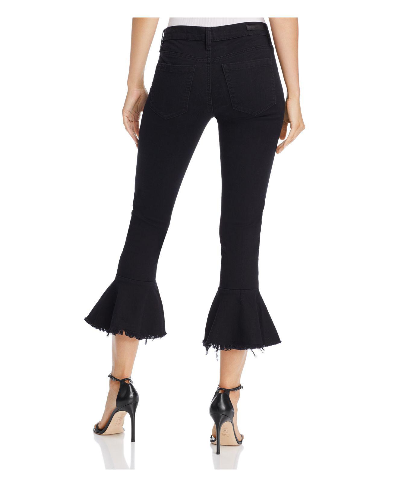 Blank NYC Denim Ruffle-hem Cropped Jeans In Night Mania in Black
