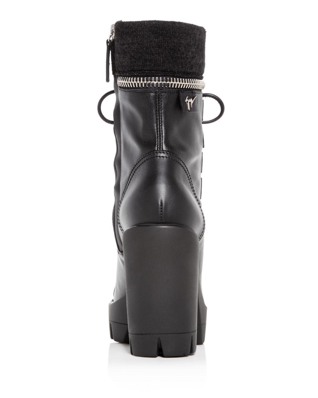 f4d5a37190b4 Lyst - Giuseppe Zanotti Women s Gintonic Leather Zip Top Block-heel ...