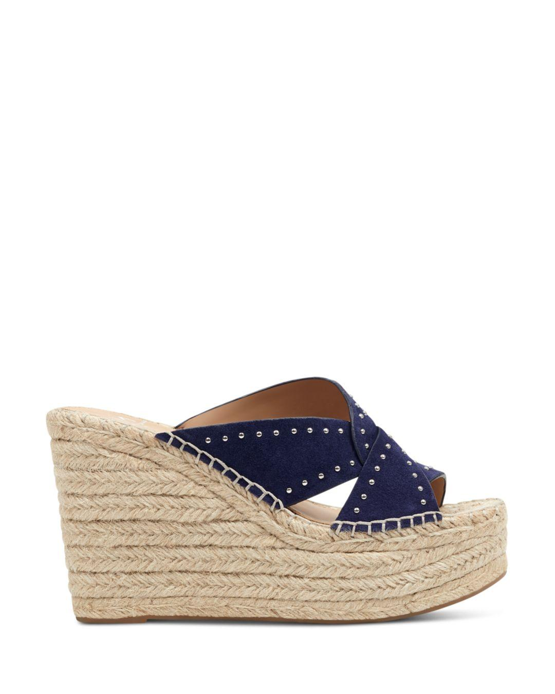 2bcebd63805 Marc Fisher Women s Angelina Studded Espadrille Wedge Sandals in Blue - Lyst