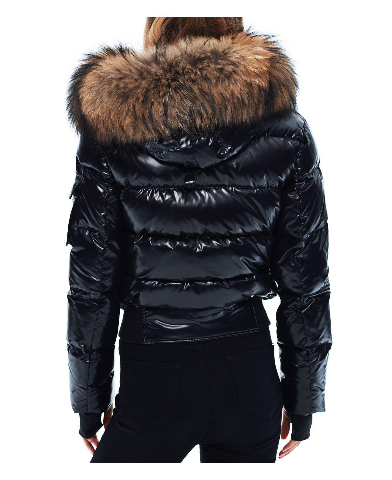 Lyst Sam Skyler Fur Trim Short Down Coat