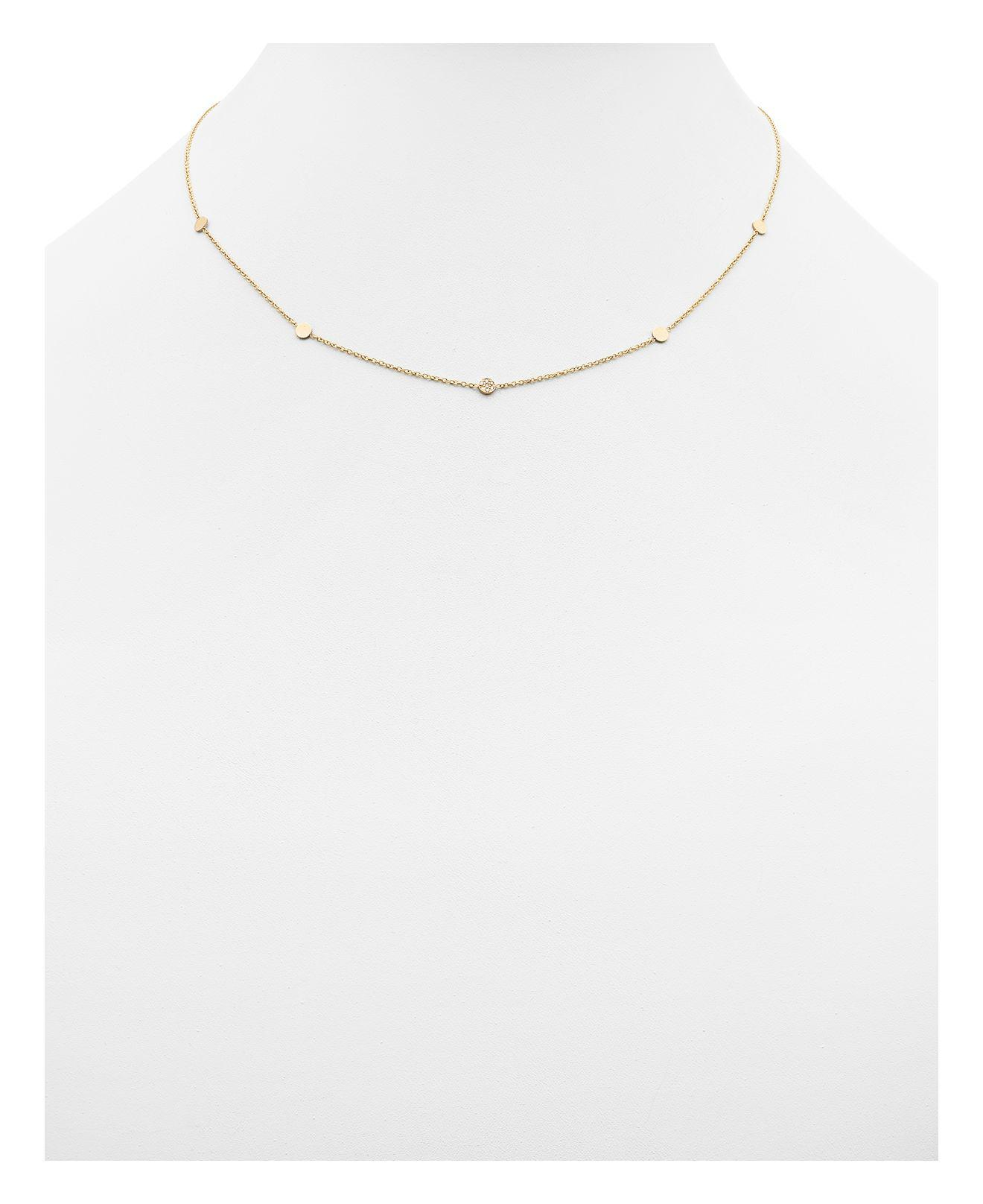 """Zoe Chicco Zoe Chicco 14k Yellow Gold Itty Bitty Round Disc Necklace With Diamonds, 18"""" in Metallic"""