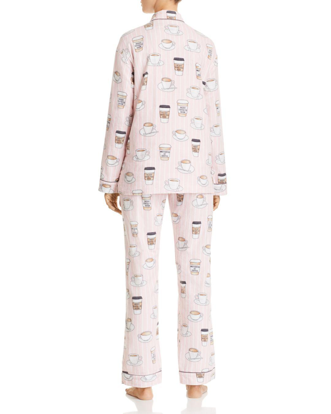 3cd729771a884 Lyst - Pj Salvage Rise   Grind Coffee Print Cotton Pajama Set in Pink -  Save 44%