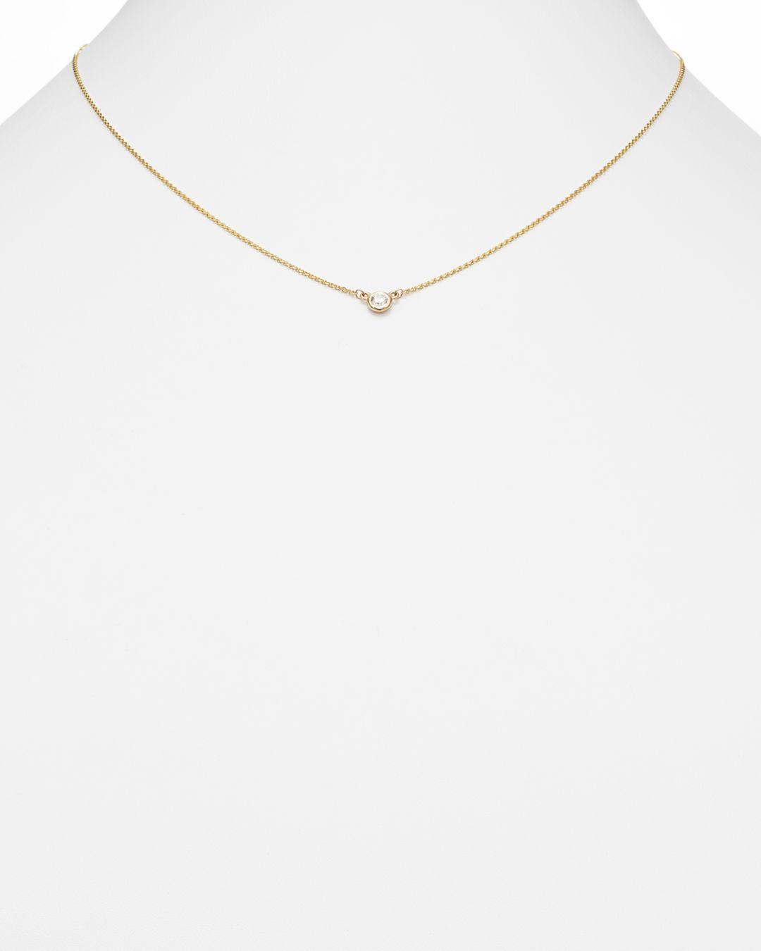 Bloomingdale's Diamond Bezel Set Pendant Necklace In 14k Yellow Gold in White/Gold (Metallic)