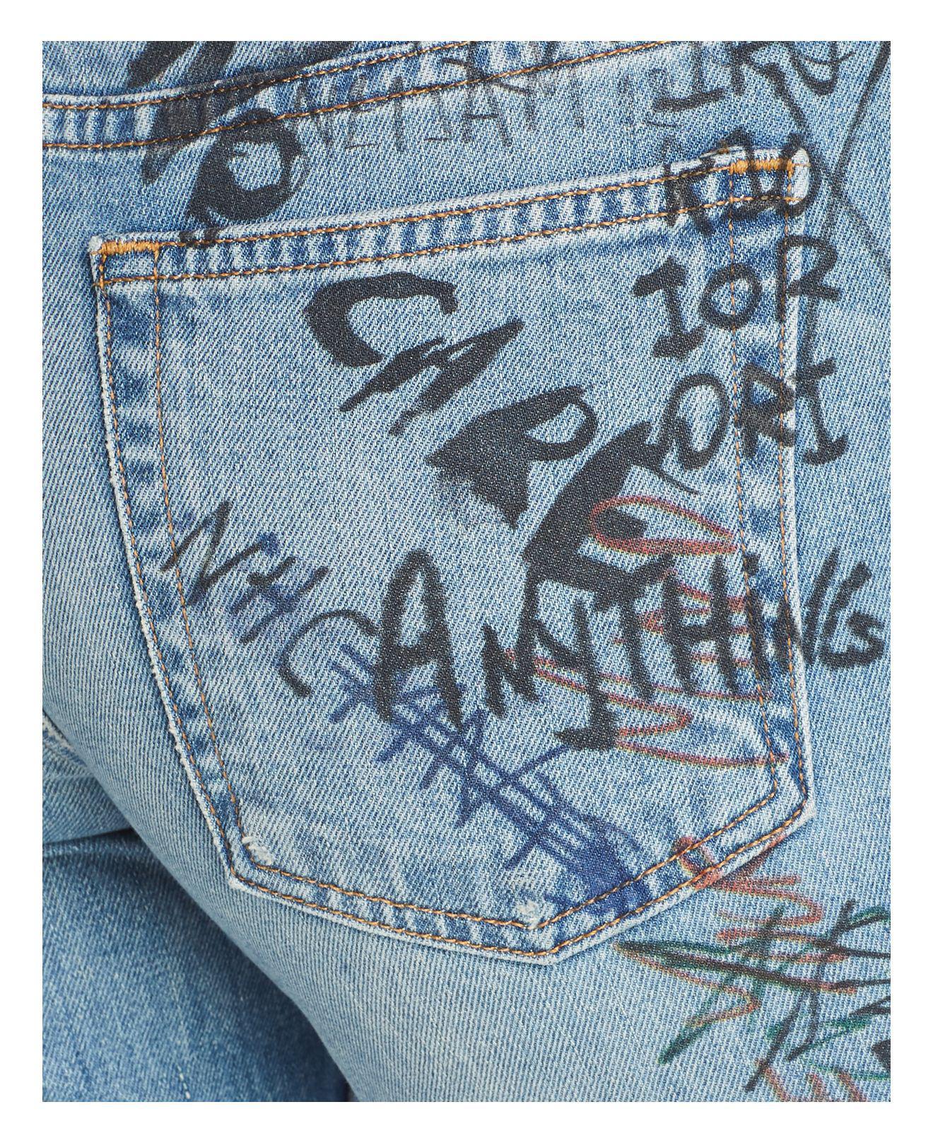IRO Denim Megrit Straight Leg Graffiti Jeans In Blue