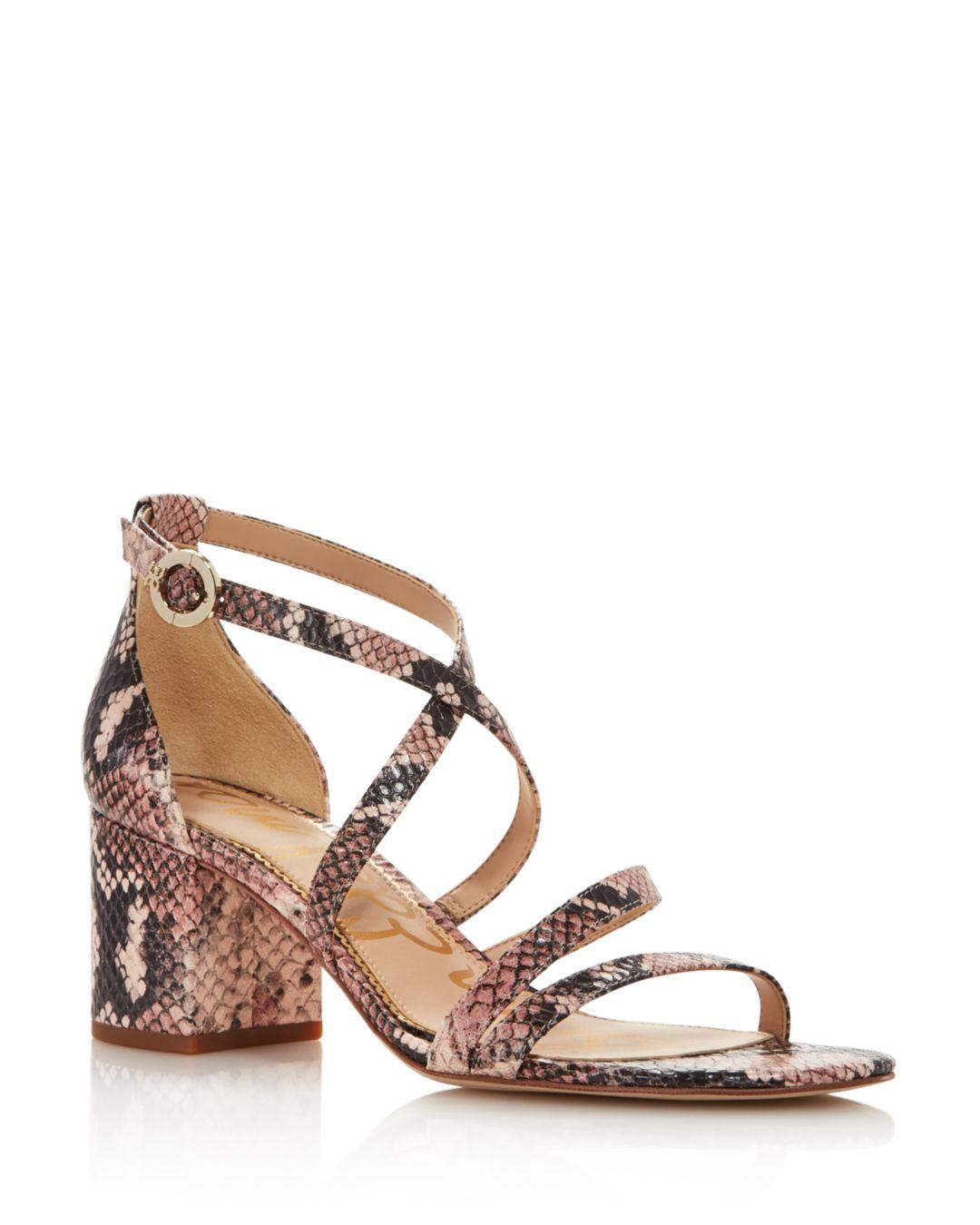 378a80678 Sam Edelman Women s Stacie Embossed-leather Block-heel Sandals - Lyst