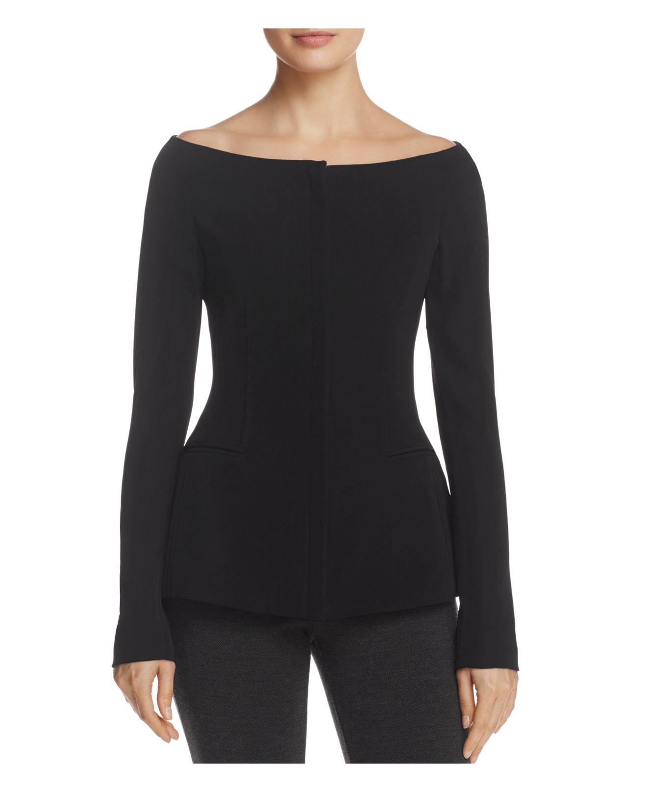 Lyst Theory Off The Shoulder Jacket In Black