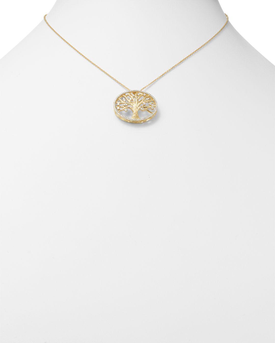 Bloomingdale's Diamond Pendant Set In 14k Yellow Gold in White/Gold (Metallic)