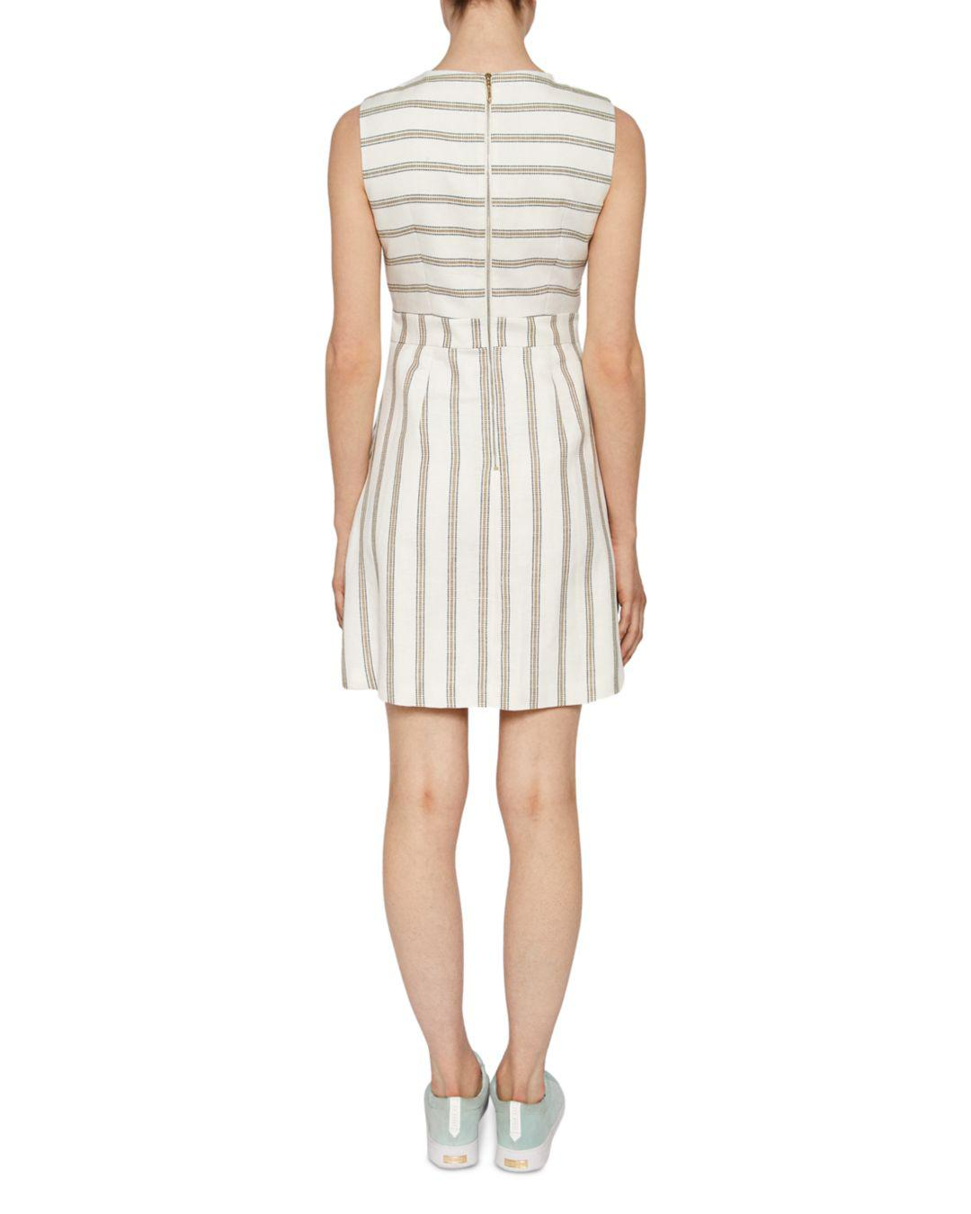 09c82399c5ad Ted Baker Colour By Numbers Tee Striped Dress in White - Lyst